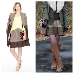 J. CREW Houndstooth Tweed Wool Mini A-Line Skirt